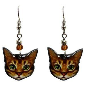 Kitty Cat Earrings Handmade Cute Green Eyes